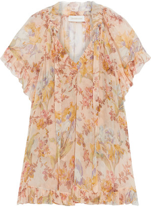 Zimmermann Espionage Tie-neck Floral-print Silk-georgette Blouse