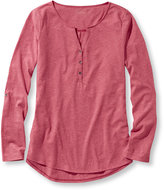 L.L. Bean Women's Heathered Cotton/Modal Henley, Microstripe