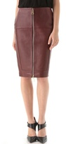 Leather Zip Front Pencil Skirt