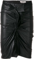 Etoile Isabel Marant leather look ruched skirt - women - Cotton/Polyurethane/Viscose - 36