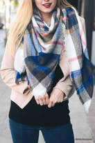 Leto Plaid-Blue Blanket Scarf