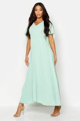 boohoo Cape Detail Chiffon Maxi Dress