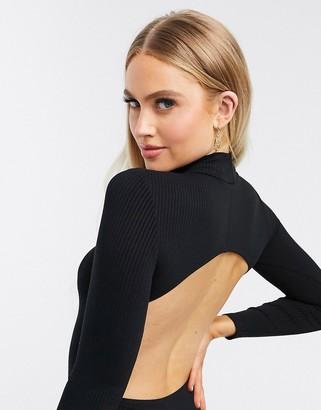 ASOS DESIGN high neck open back bodysuit with long sleeve in rib in black