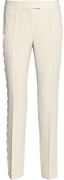 Moschino Cheap & Chic Moschino Cheap and Chic Scallop-trimmed crepe pants