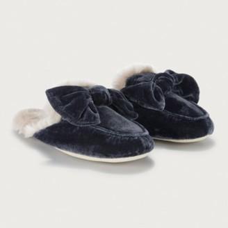 The White Company Velvet Bow Slider Slippers, Midnight, L[7/8]