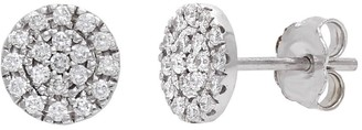 Overstock 14k White Gold 0.46ctw Diamond Circular Disc Stud Earrings