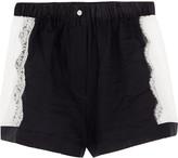 Raphaëlla Riboud Fred lace-paneled cotton-poplin shorts
