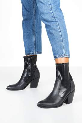 boohoo Mix Material Sock Western Boots