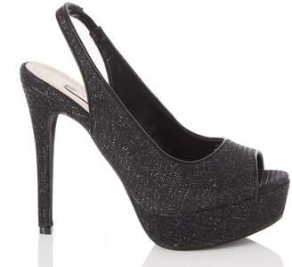 Quiz Black Glitter Peep Toe Slingback Platform High Heel