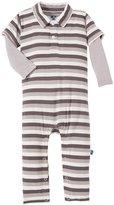 Kickee Pants Print Polo Romper (Baby) - Rain Stripe-0-3M