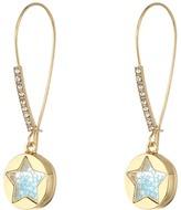 Betsey Johnson Blue Shaky Star Shepherd's Hook Earrings