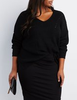 Charlotte Russe Plus Size Pointelle V-Neck Sweater
