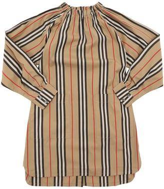 Burberry Striped Print Cotton Poplin Dress