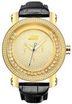 JBW Men's JB-6211L-A Hendrix Japanese Movement Genuine Leather Real Diamond Watch - Gold