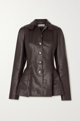 Loewe Paneled Leather Peplum Jacket - Brown