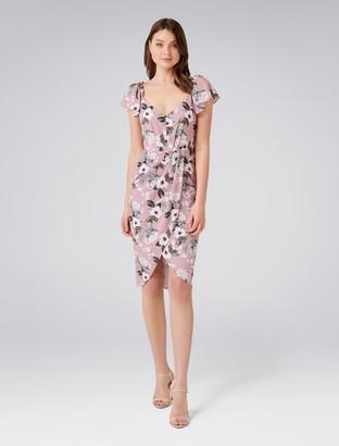 Forever New Elanor Cap Sleeve Drape Dress - Dusky Blush Blooms - 4