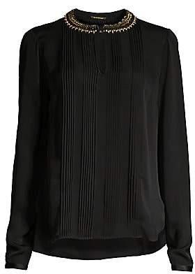 Elie Tahari Women's Sima Studded Collar Pintucked Silk Blouse