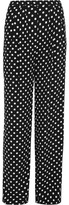 MICHAEL Michael Kors Polka-dot Crepe Wide-leg Pants - Black