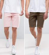 Asos 2 Pack Skinny Denim Shorts In Khaki And Pink SAVE