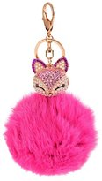 Idealhere 1pc Cute Rhinestone Fox Artificial Fur Ball Keychain Key Ring Bag Pendant