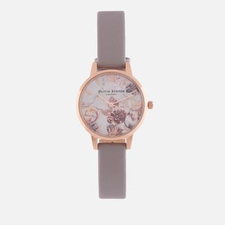 Olivia Burton Women's Marble Florals Watch - Grey Lilac & Rose Gold