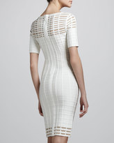Herve Leger Cutout Half-Sleeve Bandage Dress