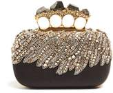Alexander McQueen Crystal-embellished satin knuckle clutch