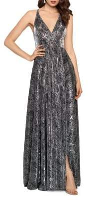Betsy & Adam Sleeveless Snake-Printed Gown