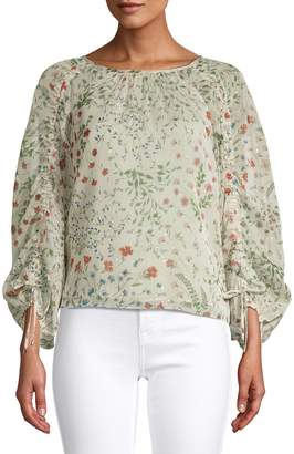 Joie Botanical-Print Balloon-Sleeve Blouse