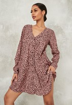 Missguided Blush Dalmatian Button Down Long Sleeve Smock Dress