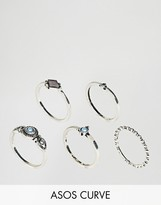 Asos Pack of 5 Engraved Mini Stone Rings