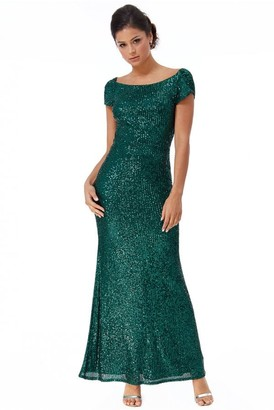 Goddiva Cowl Back Stripe Sequin Maxi Dress - Emerald