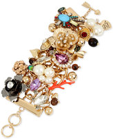 Betsey Johnson Gold-Tone Multi-Charm Toggle Bracelet