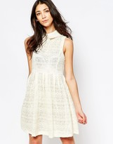 Yumi Lace Skater Dress With Collar