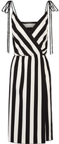 Marc Jacobs Wrap-effect Striped Crepe Dress - Black