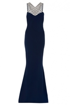 Quiz Navy Embellished Mesh Detail Split Back Maxi Dress