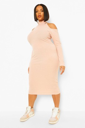 boohoo Plus Rib Cut Out High Neck Midi Dress