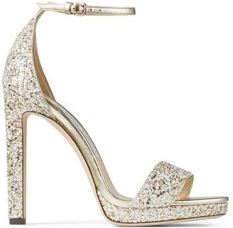 Jimmy Choo MISTY 120 Metallic Glitter Fabric Platform Sandals
