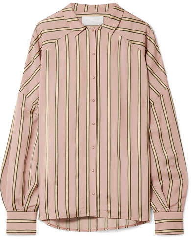 Esteban Cortazar Volume Oversized Striped Satin Shirt - Blush