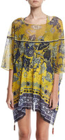 Fuzzi Antique Floral Tulle Caftan Coverup with Tassels, Yellow