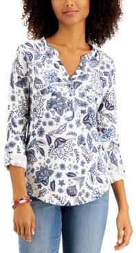 Style&Co. Style & Co Cotton Printed 3/4-Button-Front Top, Created for Macy's