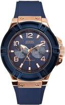 GUESS Men's Blue and Rose Gold-Tone Rigor Standout Casual Sport Watch