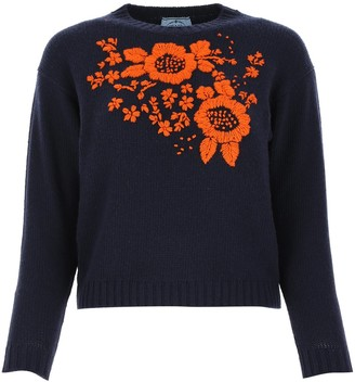 Prada Flower Embroidered Knit Jumper