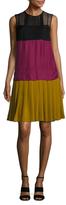 Prada Colorblock Pleated A Line Dress