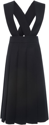 Miu Miu Racerback Pleated Wool Dress