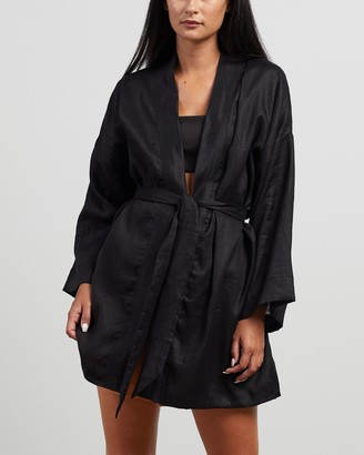 Faithfull The Brand Women's Black Gowns - Larissa Robe - Size XS/S at The Iconic