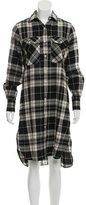 R 13 Plaid Button-Up Dress