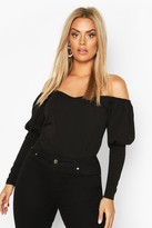 boohoo Plus Off Shoulder Puff Sleeve Fitted Top