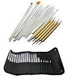 20pcs Nail Art Tips Design Painting Tool Set Dotting Kit Drawing Pen Brush Case