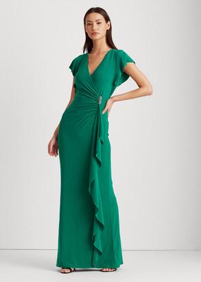 Ralph Lauren Flutter-Sleeve Surplice Dress